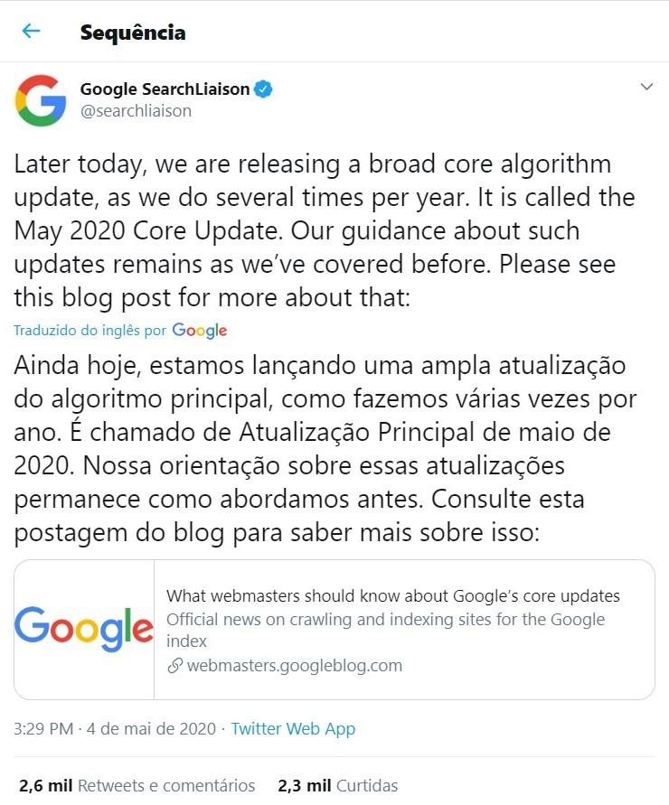 Tweet da Google SearchLiaison sobre a atualização dos algoritmos do Google